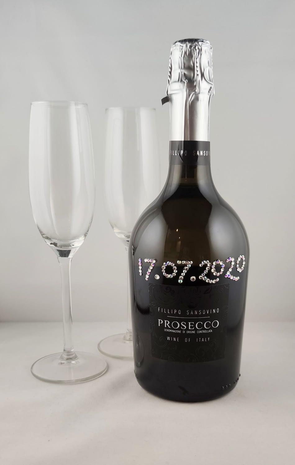 Custom Order Rhinestoned Prosecco Bottle