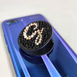 Crystal Covered Initial Phone Grip (Black)