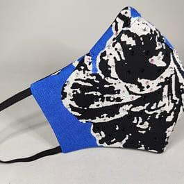 Rhinestone Blue and Black Floral Mask