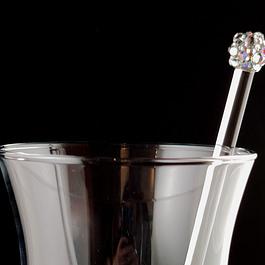 Rhinestoned Glass Cocktail Stirrer