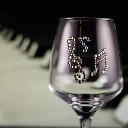 Rhinestoned Music Glass