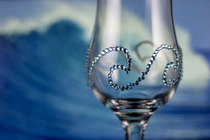 Ocean Wave Rhinestoned Glass