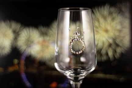 Engagement Ring Rhinestone Glass