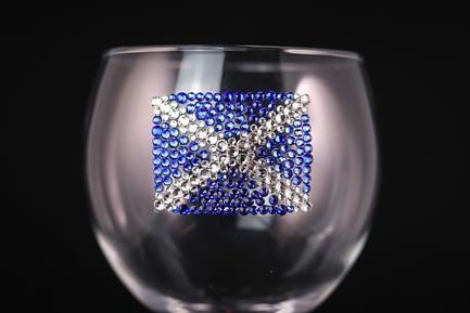 Scottish Flag Sparkly Glass