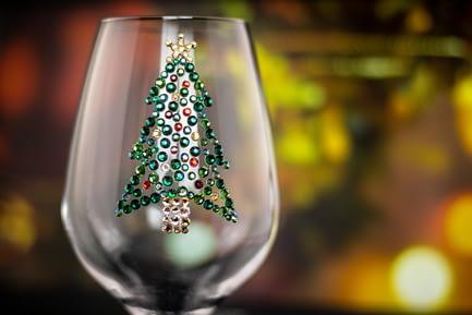 Christmas Tree Rhinestone Bling Glass