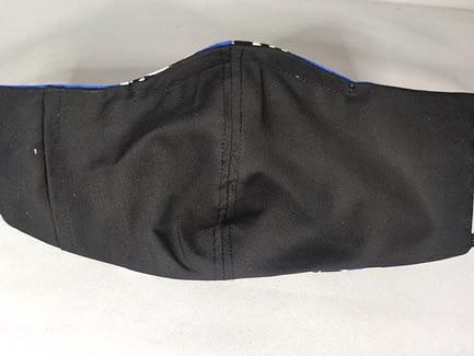 Rhinestone Blue and Black Floral Mask Back