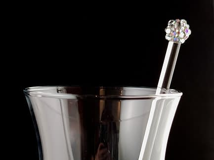 Rhinestoned Glass Cocktail Stirrer