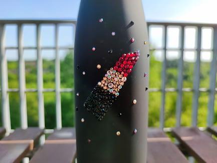 Lipstick Rhinestone Water Bottle