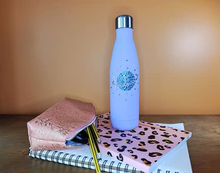 Rhinestone Planet Water Bottle