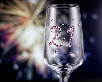 Custom Rhinestoned Birthday Glass