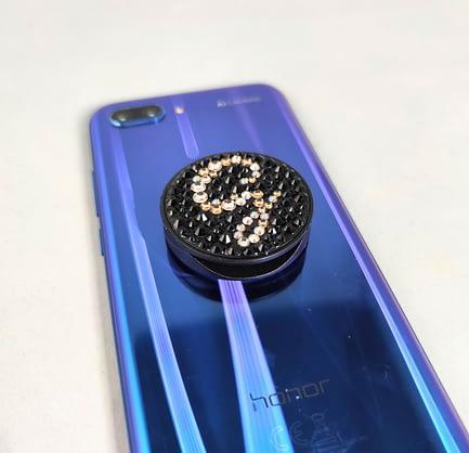 Black Initial Covered Phone Pop