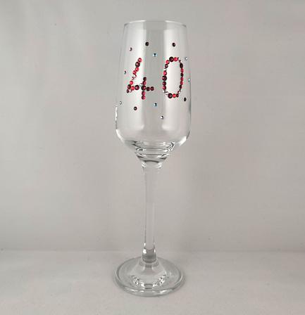 40th Custom Glass Rhinestone