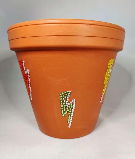 Lightning Bolt Rhinestone Plant Pot