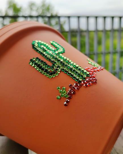 Cactus Rhinestoned Plant Pot