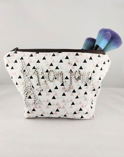 Rhinestone Bonjour Makeup Bag