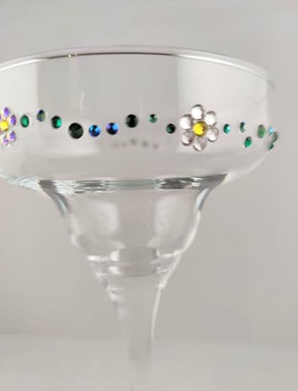 Daisy Chain Rhinestoned Glass
