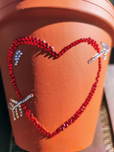 Personalised Sparkle Love Heart Plant Pot