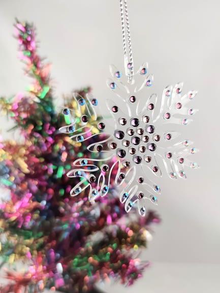 Rhinestoned Snowflake Christmas Ornament
