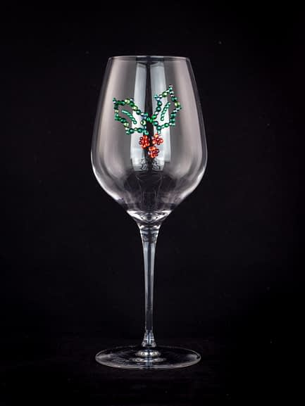 Rhinestoned Holly Glass