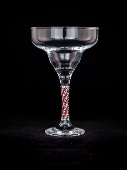 Candy Cane Rhinestone Glass