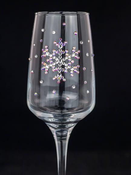 Rhinestoned Snowflake Christmas Glass