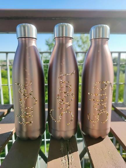 Customised Rhinestone Name Water Bottle