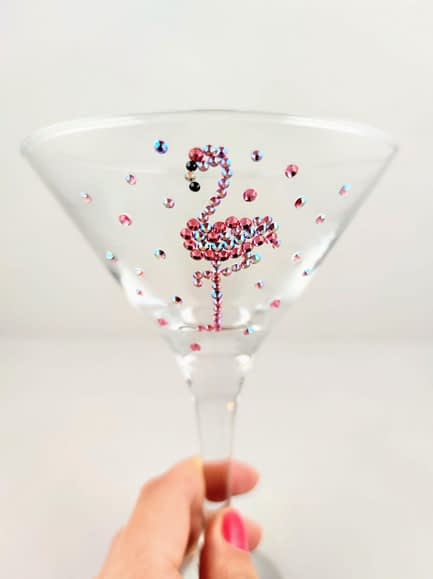 Sparkle flamingo glass